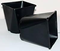 Горшок для рассады 1л,(11x11x12.5см),квадратно-круглый, черный (200 шт)