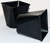 Горшок для рассады 2л,(14x14x14см),квадратно-круглый, черный, фото 1