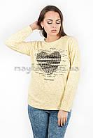 Свитшот батник женский с принтом Сердце p.44-48 желтый Хлопок N36-3