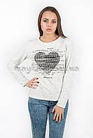 Свитшот батник женский с принтом Сердце p.44-48 белый Хлопок N36-2