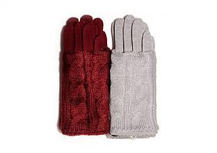 Модные теплые зимние женские перчатки с митенками красивой вязки, Польша
