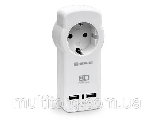 Зарядное USB-устройство REAL-EL CS-30 c розеткой белое