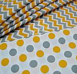 Ткань с серыми и тёмно-жёлтыми горохами размером 3 см, № 544а, фото 3