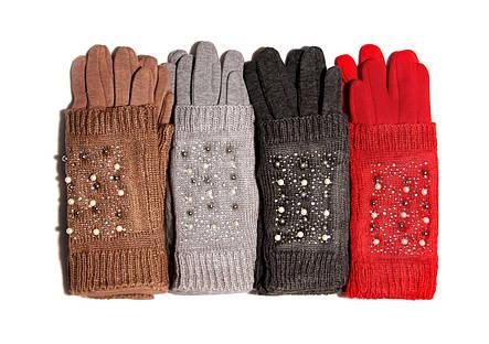 Зимові рукавички з мітенками які можна носити окремо, з декором, фото 2