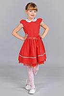 Красное детское платье в горошек