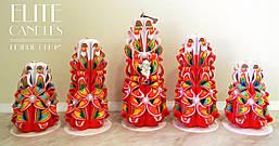 Резные свечи радужные, красивый набор ручной работы.