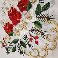 Скатерть 320*170 новогодняя льняная с вышивкой на новогодний стол