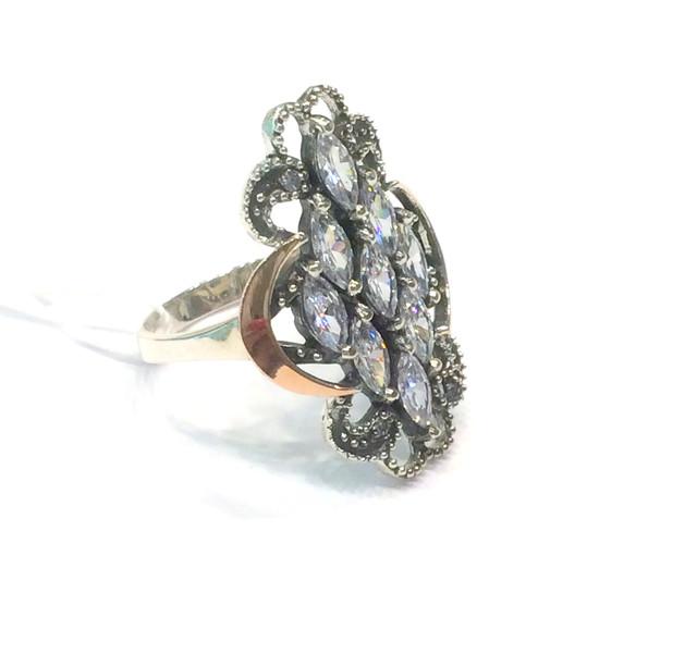 Срібний комплект Ажур: сережки і кільце з чорнінням і золотом