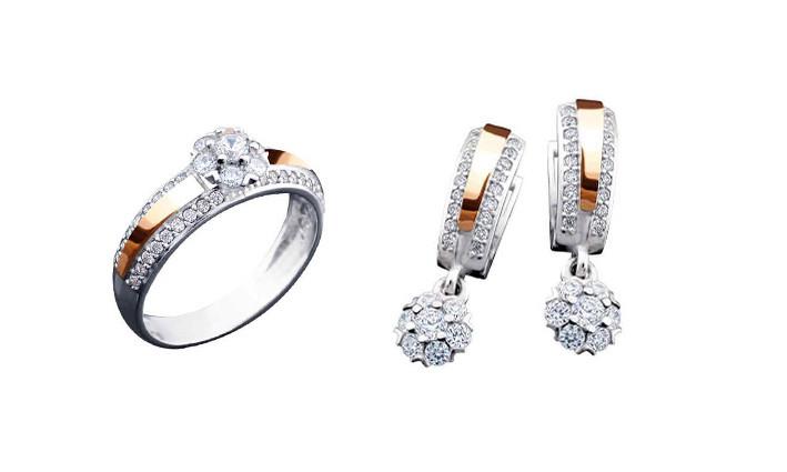 1cf8759ab3cf Комплект кольцо+серьги из серебра 925 пробы с напайкой из золота 375 пробы  и кубическим