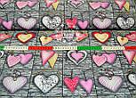 Ткань с розовыми сердцами на серых досках № 546, фото 2