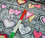 Ткань с розовыми сердцами на серых досках № 546, фото 3