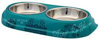 Trixie  TX-25195 миска для кошек  Paris  (сталь+меламин)2 х 0,15 л / O 10 см