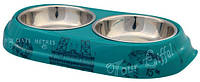 Trixie  TX-25196 миска для кошек  Paris  (сталь+меламин) 2 × 0,45 л / O 14 см