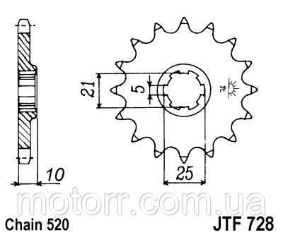 Звезда передняя JT JTF728.15