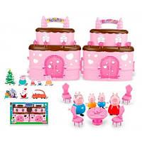 Розовый игровой домик свинки Пеппы 666-007-1 с мебелью и 4-мя фигурками, в коробке 37х5х20 см