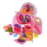 Игрушка Май Литл Пони 2386: 4 пони, домик, аксессуары, дом превращается в сумку, коробка 11x29x42 см