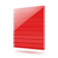 Лист поликарбонатный сотовый 6000х2100х10 мм красный Sunnex