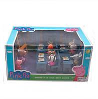 Игровой набор «Идем в школу свинка Пеппа» 807: 8 фигурок учеников, учительница, парты, доска