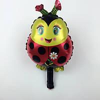 Воздушный целлофановый шар божья коровка с ромашкой