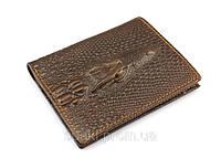 Мужской стильный кошелек бумажник Крокодил из коровьей кожи