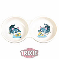 Trixie TX-4014миска двойная керамич.для кошки 0,15л Трикси.