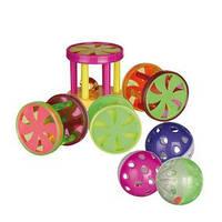 Trixie TX-4099 набор игрушек для кошек мячи и барабаны(пластик) 4см*60шт