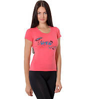 Футболка женская коралловая бренд с рисунком сердце