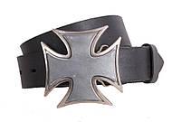 Кожаный ремень для мужчин с бляхой крест