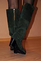 Сапоги изумрудного цвета демисезонные из натуральной замши сзади замочек код 1715/4
