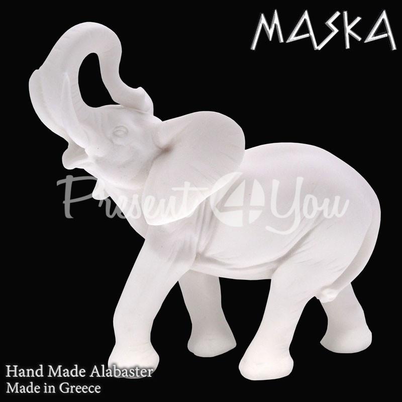 Фигурка статуэтка из природного минерала алебастр Греция «Слон», h-15,5х14,5 см.