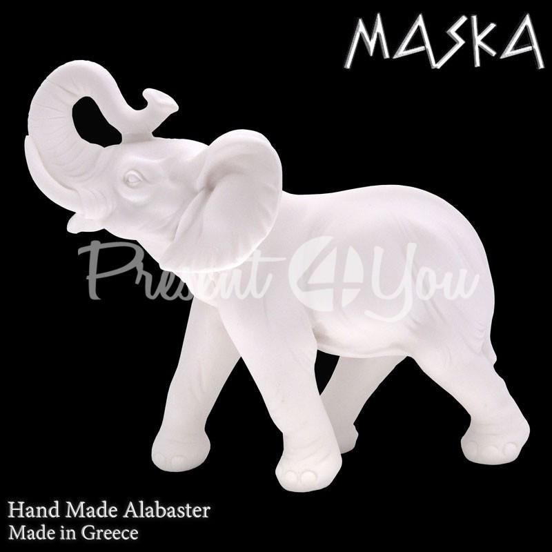 Фигурка статуэтка из природного минерала алебастр Греция «Слон», h-26 см.