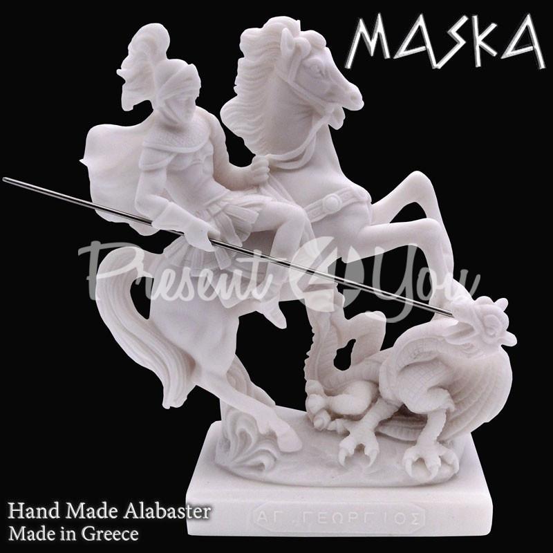 Фигурка статуэтка из природного минерала алебастр Греция «Святой Георгий», h-18 см.