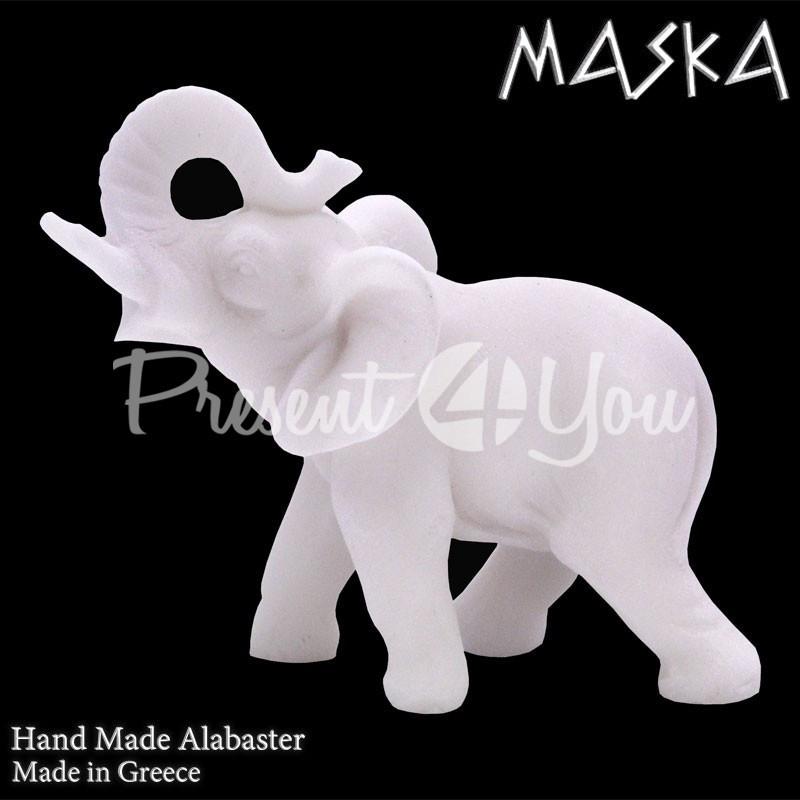 Фигурка статуэтка из природного минерала алебастр Греция «Слон» h-7 см.
