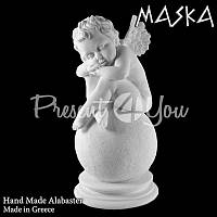 Фигурка статуэтка из природного минерала алебастр Греция «Ангелочек», h-23 см.