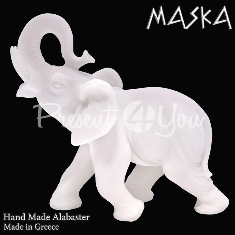 Фигурка статуэтка из природного минерала алебастр Греция «Слон» h-11 см.