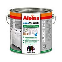 Эмаль акриловая Aqua Weisslack глянцевая 0.75л Белая Alpina