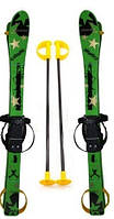Детские лыжи пластиковые 90см с палками, зеленый цвет