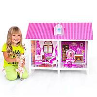 Кукольный домик для Барби 66882: 2 комнаты, мебель, принты на стенах и полу, 65х85х42 см