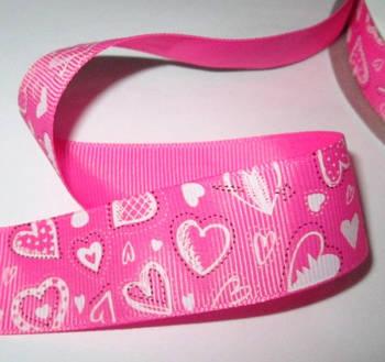 Репсова стрічка Сердечка, яскраво-рожева