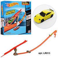 Детский автотрек LR013 HW: машина металл 6,5 см, 2 горки, пусковой механизм, коробка 5х31х30 см