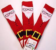 Теплые новогодние мужские носки красного цвета Дед Мороз