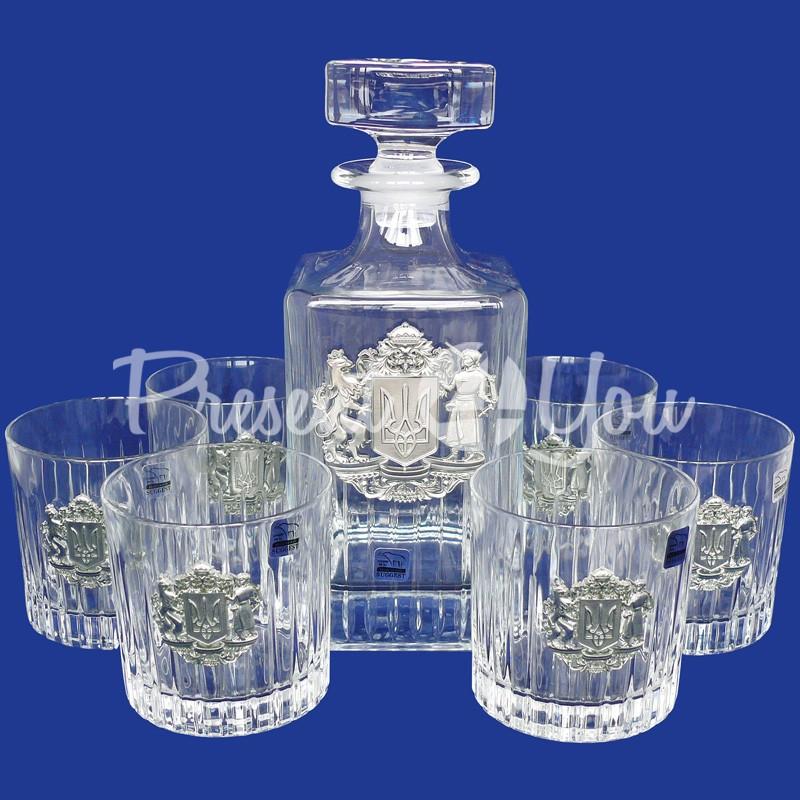Набор бокалов для виски со штофом «Герб Украины» (7 предметов)