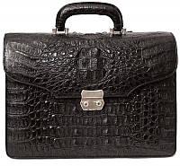 Мужской портфель из кожи крокодила (DCM 1527 S Black), фото 1