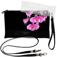 Клатч с принтом Ночная орхидея, чёрный