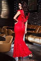 Шикарное красное  платье в пол из гипюра . Арт-9421/57