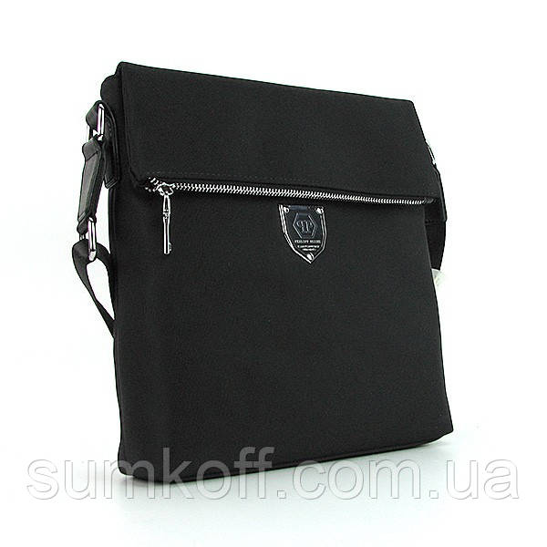Мужская черная сумка Philipp Plein 0881-5 текстильная маленькая через плечо
