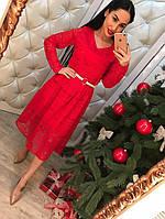 Платье женское кружевное с поясом