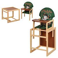 Стульчик для кормления М V-010-22-2 со столиком, трансформер, девочка