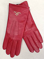 Перчатки женские кожаные Prada красные, фото 1