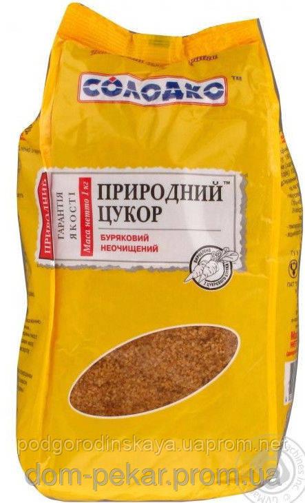 """Сахар коричневый (свекольный) нерафинир. """"Солодко"""" 1 кг"""
